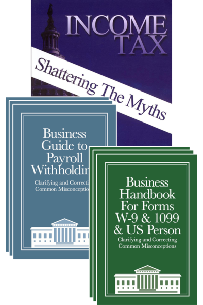3-packs of Withholding Guide and W-9 Handbook with Income Tax: Shattering the Myths